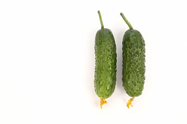 Due cetrioli verdi su sfondo bianco
