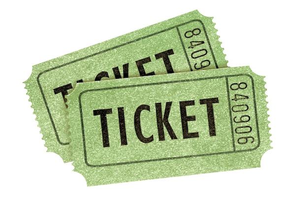 Due vecchi biglietti per il cinema retrò verdi isolati
