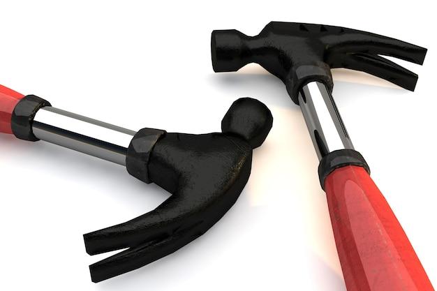 Due martelli con manico gommato e materiale 3d render in acciaio