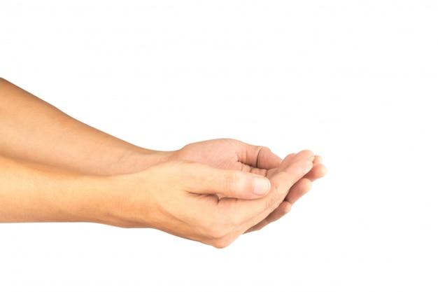 Una tenuta di due mani isolata su bianco