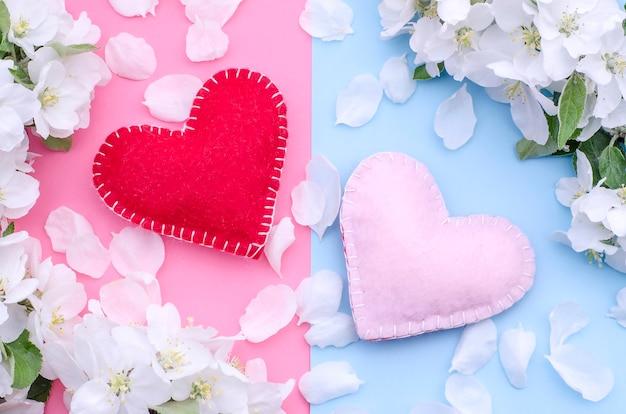 Due cuori fatti a mano su un rosa-blu con una cornice di fiori primaverili bianchi