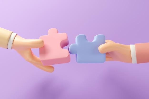 Due mani che tengono il puzzle con il lavoro di squadra
