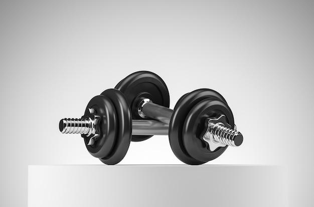 Due manubri professionali neri pesanti per fitness e bodybuilding sul podio bianco. vista frontale con sfondo bianco. illustrazione di rendering 3d.