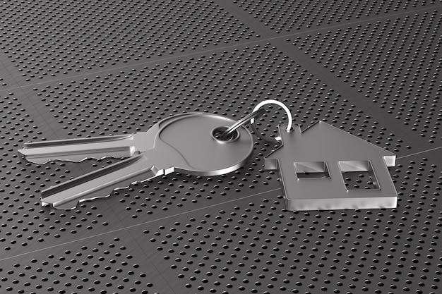 Due chiavi e gingillo casa su pannello metallico perforato. illustrazione 3d