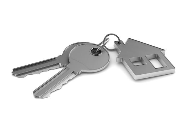 Due chiavi e gingillo casa su sfondo bianco. illustrazione 3d isolata