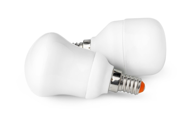 Due lampadine isolati su sfondo bianco