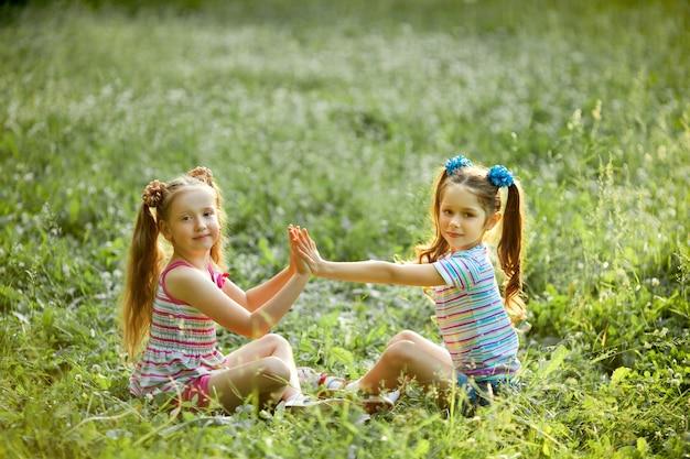 Due bambine belle che giocano seduto sull'erba verde estate nel parco
