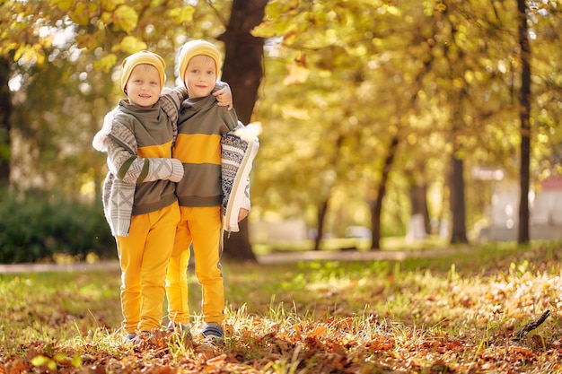 Due ragazzini in abiti identici nella soleggiata sera autunnale nel parco. due fratelli in età prescolare si divertono e giocano nel parco con fogliame dorato caduto.