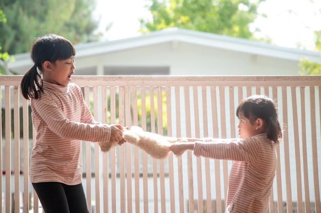 Due bambine litigano per l'orso