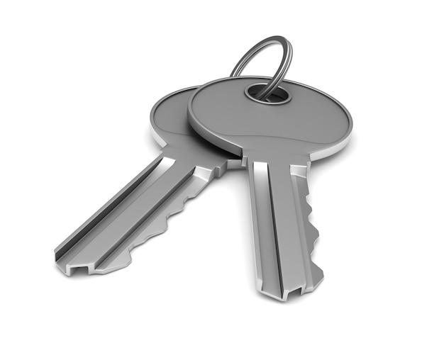 Due chiavi metalliche su sfondo bianco. illustrazione 3d isolata