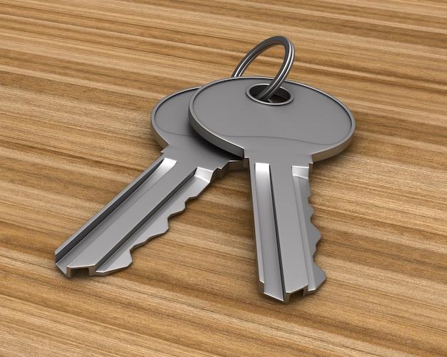 Due chiavi metalliche su superficie in legno. illustrazione 3d
