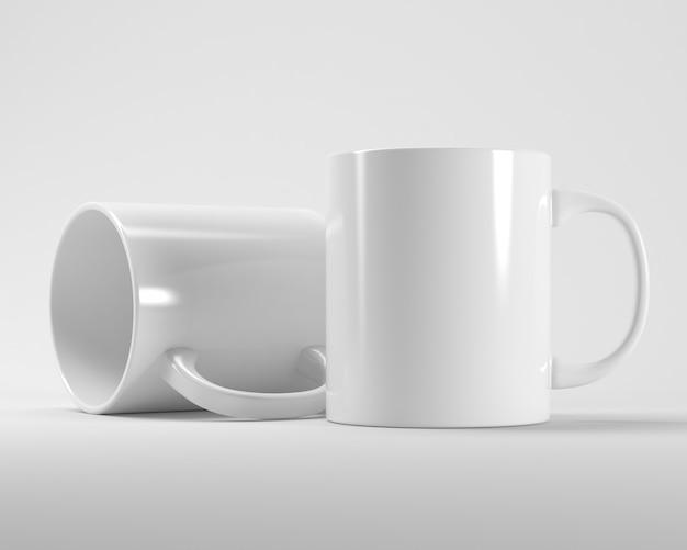 Due tazze bianche nella rappresentazione 3d
