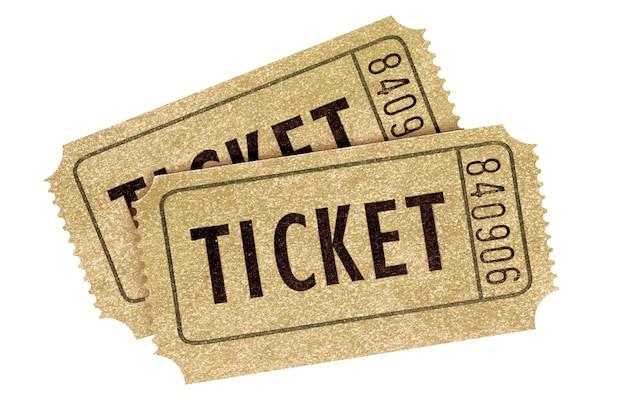 Due vecchi biglietti di film d'annata isolati