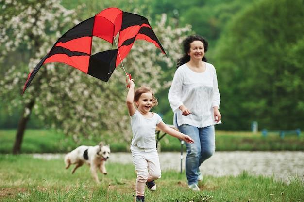 Due persone e cane. bambino femmina positivo e nonna in esecuzione con aquilone colorato rosso e nero nelle mani all'aperto