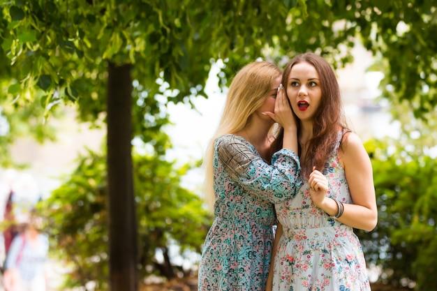 Due adolescenti piuttosto carini condividono segreti