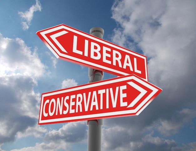 Due segnali stradali: scelta conservatrice liberale