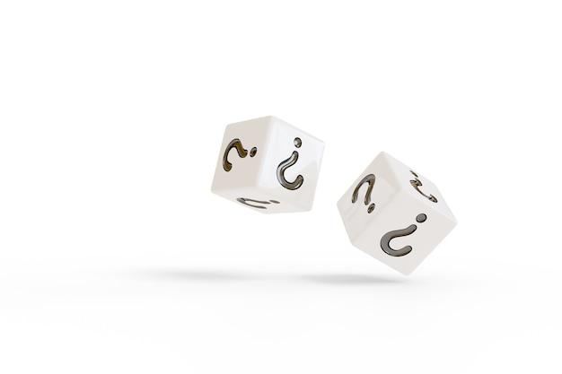 Due dadi bianchi rotolanti con punti interrogativi sui loro volti isolati su sfondo bianco. concetto casuale.