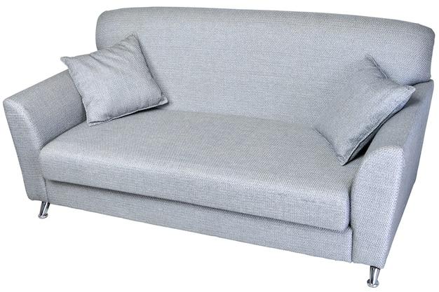 Divano due posti in tessuto colore grigio chiaro isolato