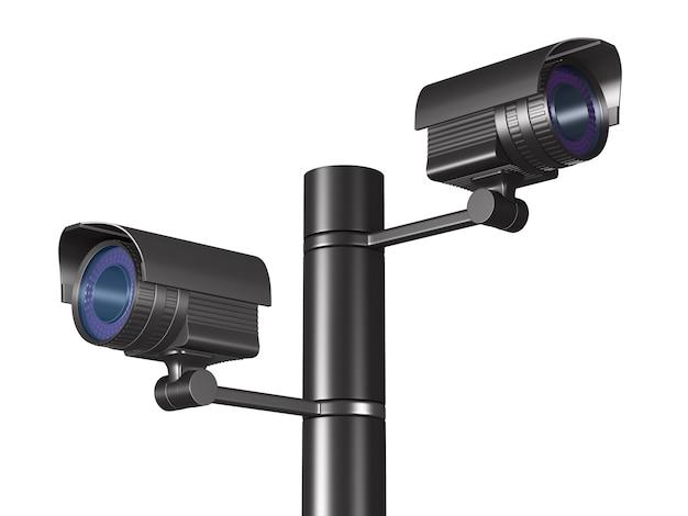 Due telecamere di sicurezza. rendering 3d isolato