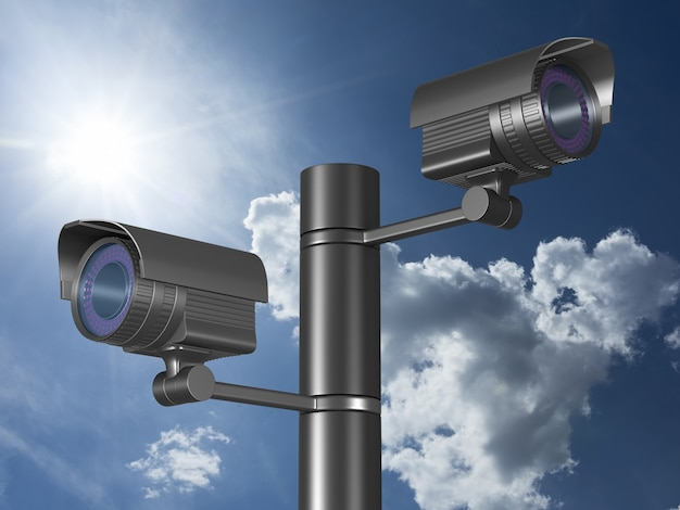 Due telecamere di sicurezza in cielo. rendering 3d