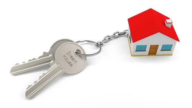 Due chiavi d'argento con un portachiavi di una casa con il testo dream house, tutti isolati su un muro bianco. portachiavi 3d home. concetto di bene immobile con casa e chiave