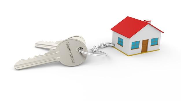 Due chiavi d'argento con un portachiavi di una casa con il testo proprietario di abitazione, tutti isolati su un muro bianco. portachiavi 3d home. concetto di bene immobile con casa e chiave