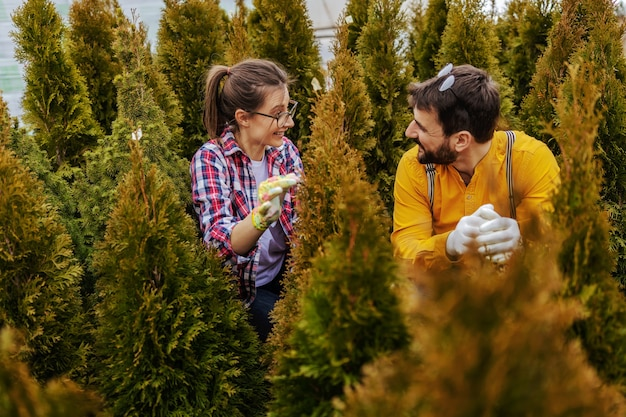 Due giovani giardinieri sorridenti accovacciati circondati da alberi sempreverdi