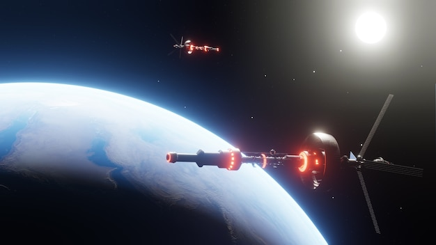 Due stazioni spaziali in orbita nel cosmo per la ricerca aerospaziale. astronave galleggiante nell'universo, navetta nell'atmosfera. immagini dalla nasa. rendering 3d illustrazione