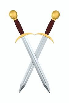 Due spade su sfondo bianco. illustrazione 3d isolata