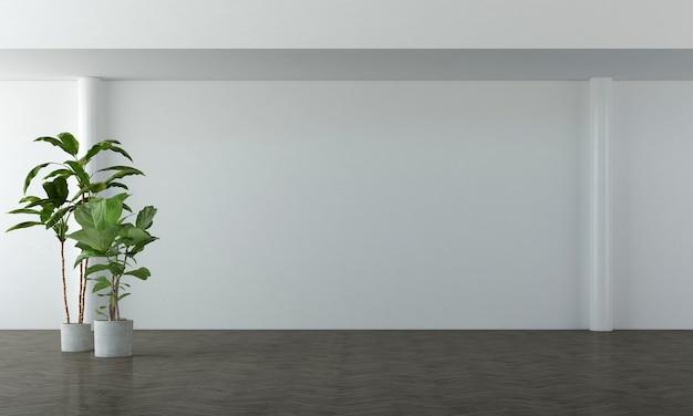 Due piante alte in vasi bianchi sul pavimento di legno e sullo sfondo bianco elegante della parete