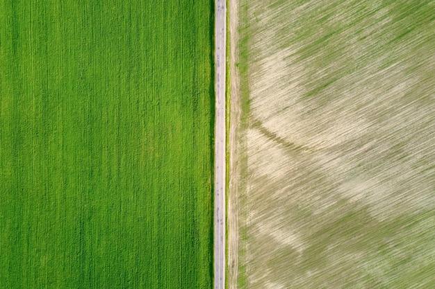 Due campi verdi strutturati separati dal fondo astratto della natura di vista aerea della strada