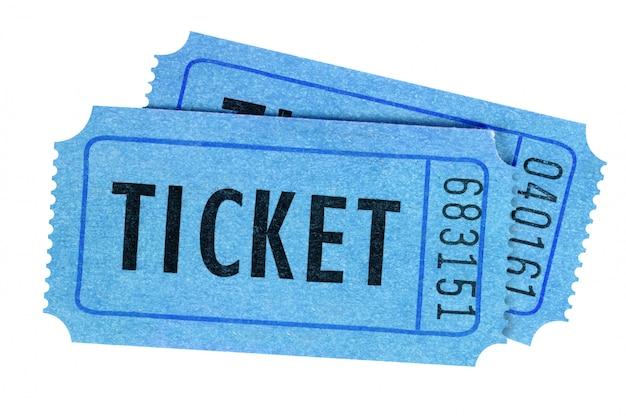Vista frontale blu di due biglietti isolata