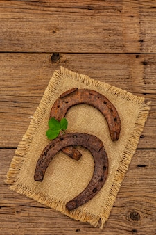 Due antichi ferri di cavallo in ferro battuto, foglia di trifoglio fresca. simbolo di buona fortuna, concetto di san patrizio
