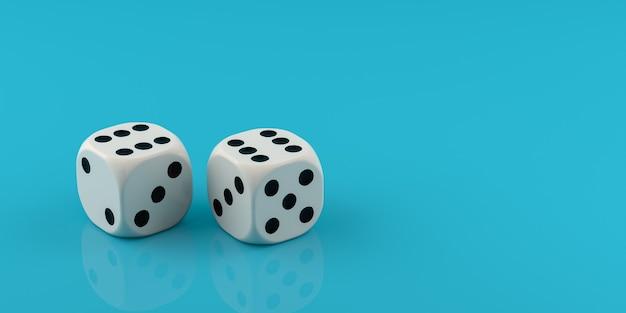 Due dadi bianchi su sfondo blu. rendering 3d