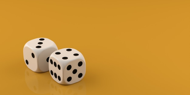 Due dadi bianchi su sfondo giallo. rendering 3d