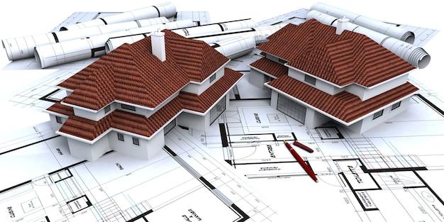 Due modelli di case bianche con tetti rossi in cima a progetti di architettura