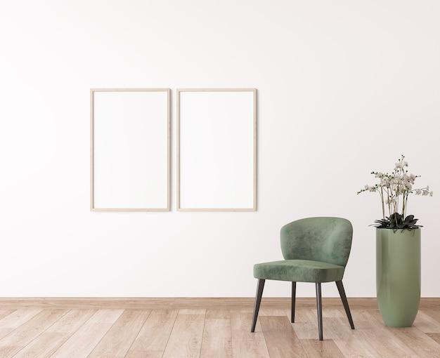 Due cornici in legno sul muro bianco, sedia verdi nel design moderno della camera