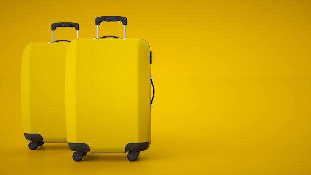 Due carrelli da viaggio gialli