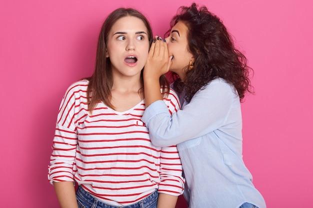 Due giovani ragazze europee attraenti che indossano l'abbigliamento casual che sta e che posa isolato sopra la parete rosa, ritratto dello studio. concetto di lifestyle di persone. segreto sussurro della donna all'orecchio dell'amico.