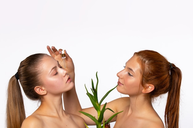 Due giovani ragazze con la pelle pulita e idratata. e l'aloe vera fiorisce davanti ai volti delle ragazze. concetto di bellezza, spa e salute, sul muro bianco. foto con spazio vuoto superiore. foto di alta qualità