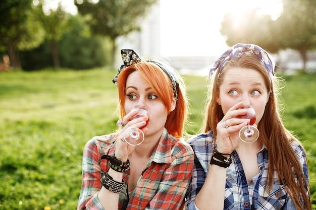 Due ragazze giovani hipster divertendosi sul picnic, concetto di migliori amici, primo piano