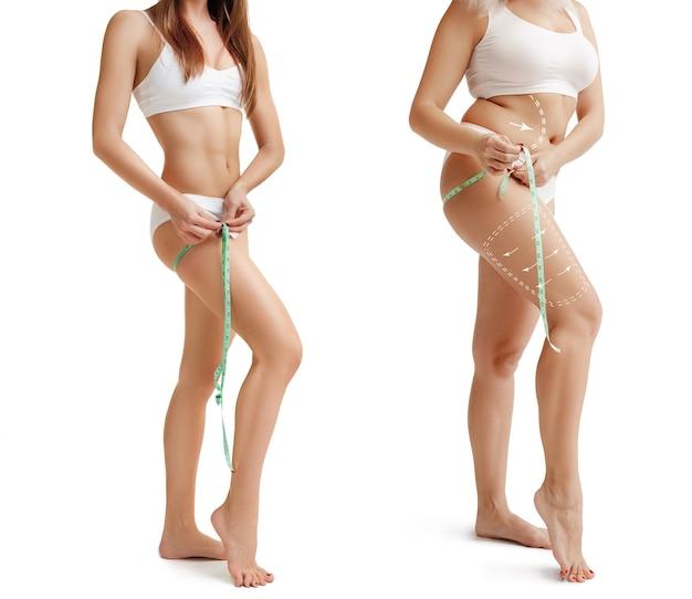 Due giovani donne grosse e magre hanno figure diverse concetto di confronto