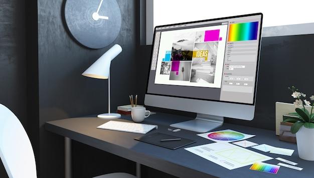 Composizione di design sul posto di lavoro mockup rendering 3d interni