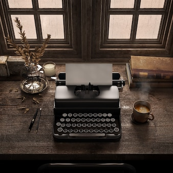 Macchina da scrivere vintage sulla scrivania in legno nella vecchia stanza con libri antichiscrivania per scrittori retrò