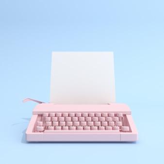 Macchina da scrivere e carta bianca su sfondo blu