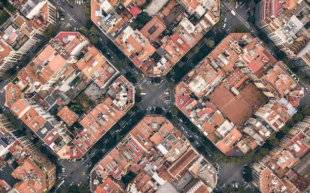 Quartieri tipici nel centro di barcellona. vista aerea