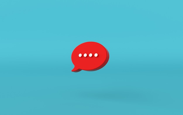 Digitando l'icona di una bolla di chat su sfondo blu