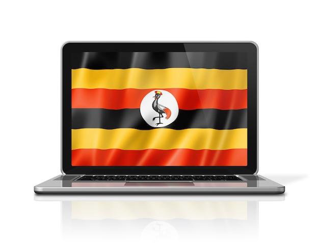 Bandiera dell'uganda sullo schermo del laptop isolato su bianco. rendering di illustrazione 3d.