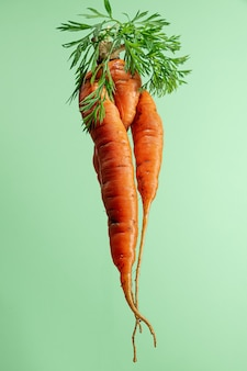 Brutta carota organica su sfondo verde. scatto creativo