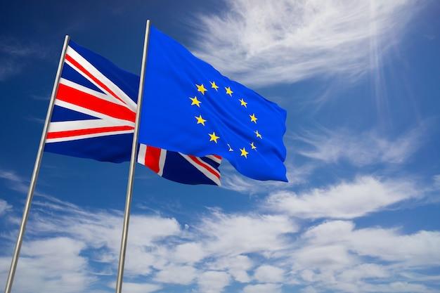 Regno unito e ue, brexit. bandiere del regno unito e dell'unione europea che sventolano opposte sullo sfondo del cielo blu. illustrazione 3d